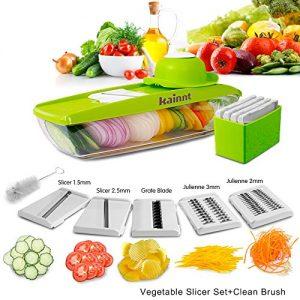 Mandoline-Slicer-Kainnt-Adjustable-Mandoline-with-5-Thickness-Settings-Interchangeable-Stainless-Steel-Blades-Vegetable-Peeler-SlicerOne-Clean-Brush-Food-Container-0